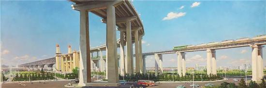 油画长江大桥冯健亲