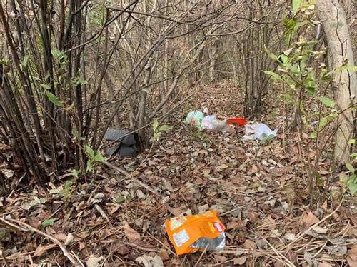 不少地方散落着包装袋、易拉罐等垃圾。