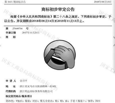 """""""捂脸商标""""正处于初步审定公告阶段"""