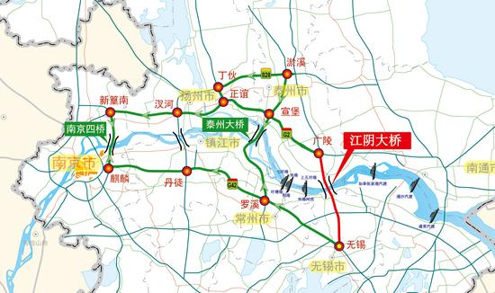 图19 江阴大桥绕行线路(双向)