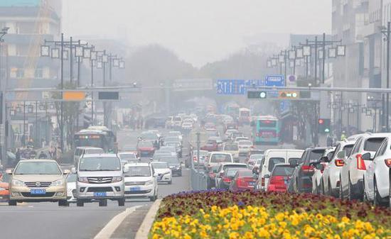 2019年2月23日,江苏苏州被雾霾笼罩。 视觉中国 图