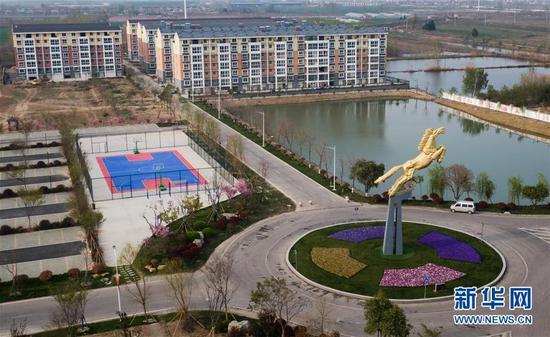 这是4月3日拍摄的徐州市贾汪区马庄村村貌(无人机拍摄)。新华社记者李响摄