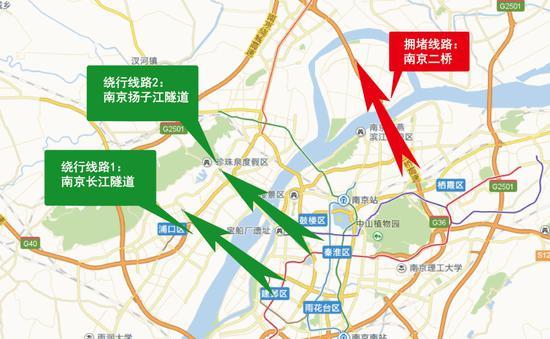 图18 南京二桥市内绕行线路(双向)