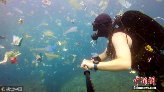 这名潜水的英国男子拍下了巴厘岛海水中的大量垃圾。 图片来源:视觉中国