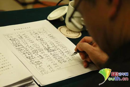 全国政协委员在联合提案签名表上郑重签上自己的名字。中国青年网记者 卢冠琼 摄