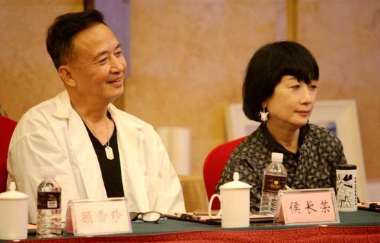 87版《红楼梦》中香菱饰演者陈剑月(右)和侯长荣与会