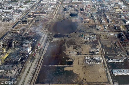 航拍江苏盐城响水爆炸核心区 现直径百米巨坑