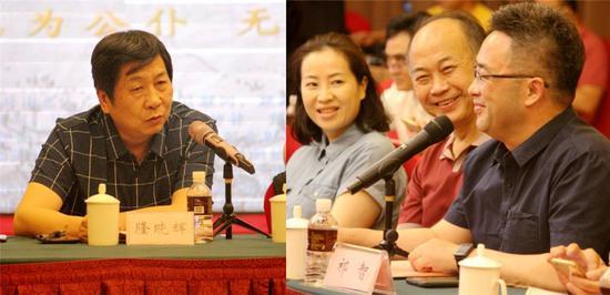 制片人隆晓辉(图左)、江苏省作协副主席祁智(右)、铁金良(中)和周媛媛分别发言