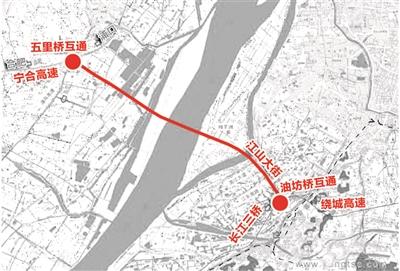 长江五桥线路示意图。