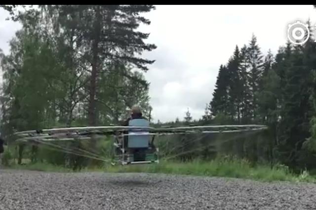 瑞典的发明人发明的飞行座椅 由76甲无人机组成