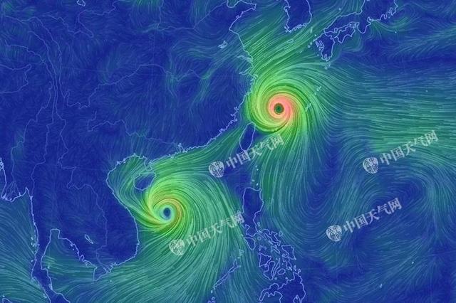 双台风酷炫高清流场图 换个角度看台风