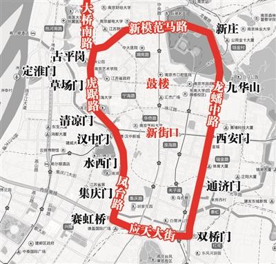 南京内环示意图。资料图片