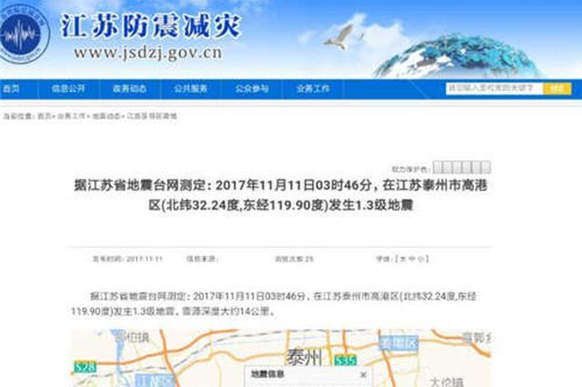 泰州高港凌晨3点46分发生1.3级地震 震源深度14公里