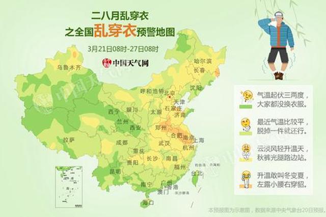 全国乱穿衣预警地图出炉 未来一周江苏升温或超15℃