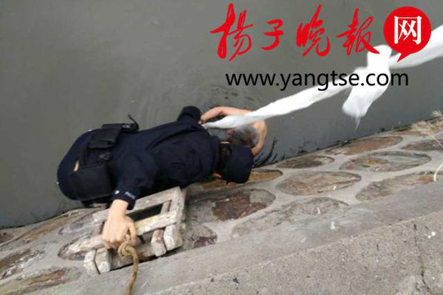 """六旬老汉醉酒跳河""""泡澡"""" 民警巧用木梯将其救上岸"""