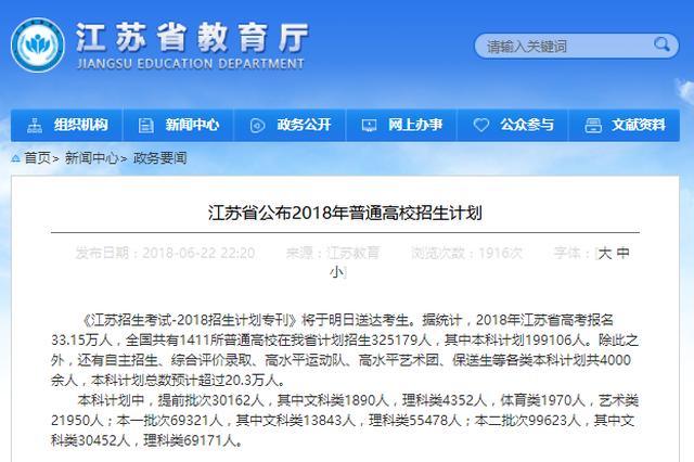 重磅!2018年江苏省普通高招生计划公布