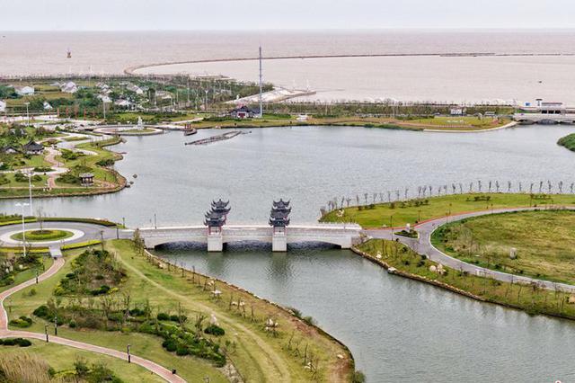 航拍盐城滨海古黄河入海口 独显旖旎风光