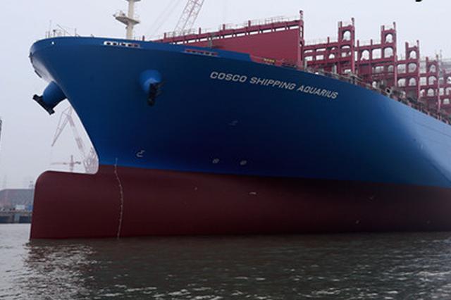 我国最大最先进2万标箱集装箱船在南通出坞