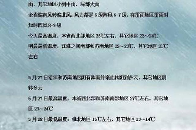 5月26日江苏仍有暴雨 还有一股冷空气明天到货