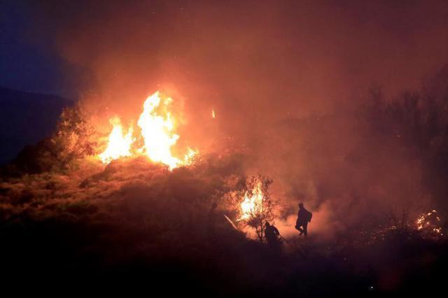 希腊埃维亚岛山火爆发 现场火光熊熊