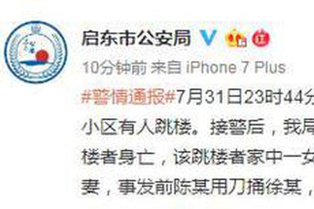 启东市公安局发布警情通报:男子杀妻后跳楼身亡