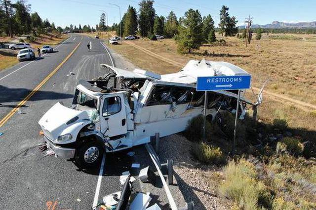 犹他州中国旅游团车祸司机是新手 第一次出车遇事故