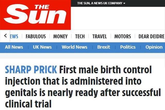 一针管13年?全球首款男性避孕针剂完成临床试验