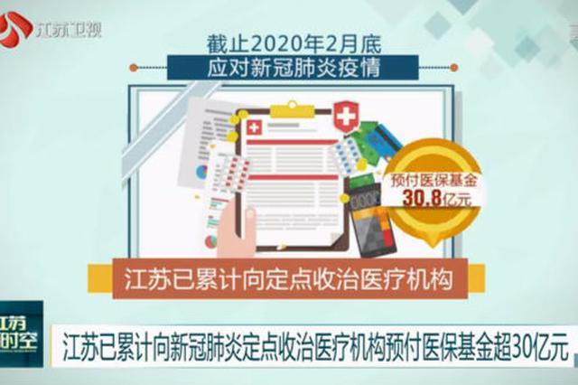 江苏已累计向新冠肺炎定点收治医疗机构预付医保基金超30亿元