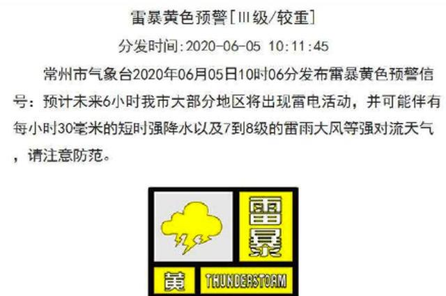南京、无锡、苏州、常州四市发布雷暴黄色预警信号!