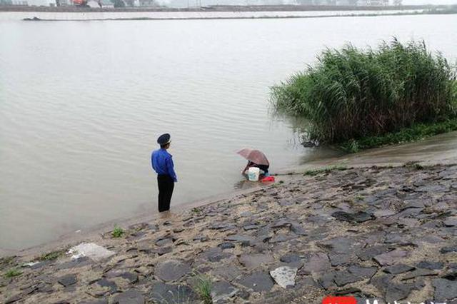 汛期滁河堤上洗菜 城管发现赶紧劝离