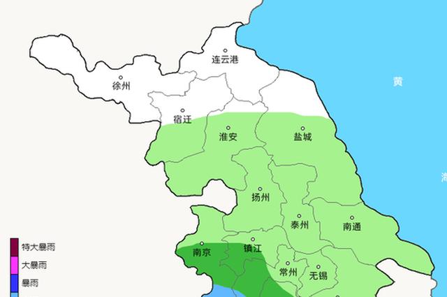 26日夜里-28日江苏省自南向北有强降水天气