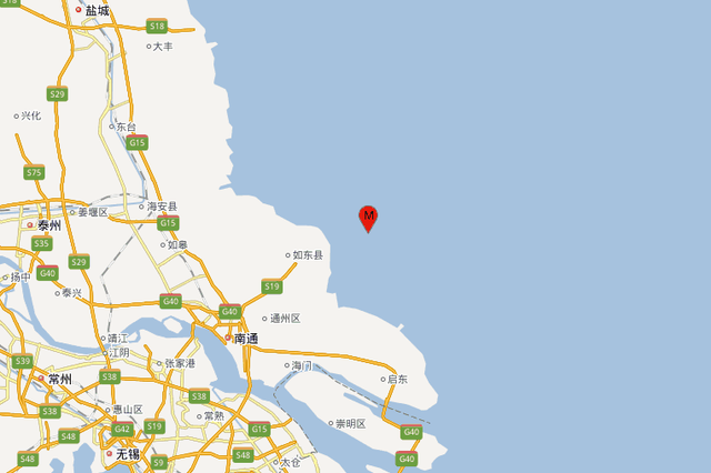 南通市如东县海域发生3.0级地震 震源深度14千米