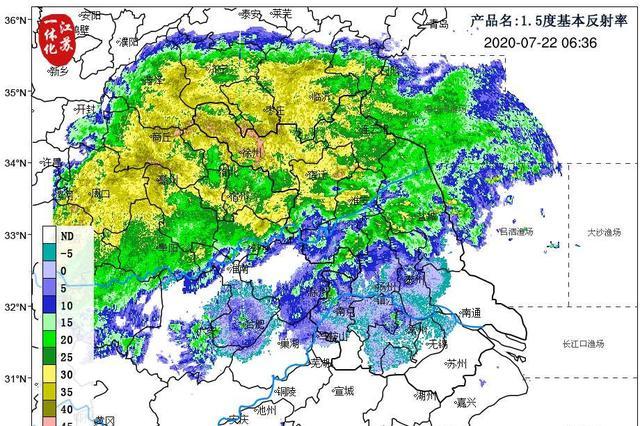 出梅=不下雨?No!江苏北部降水回波覆盖有强降雨