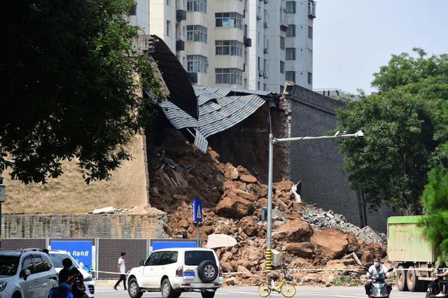 西安明城墙坍塌现场