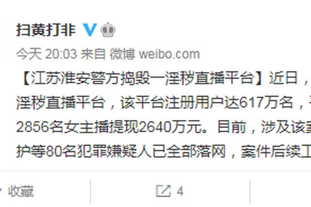 江苏淮安警方捣毁淫秽直播平台,80人落网