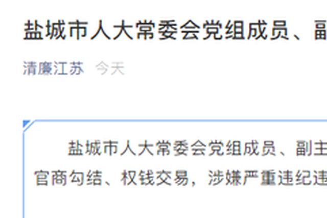 官商勾结 权钱交易 盐城市人大常委会副主任马俊健接受调查