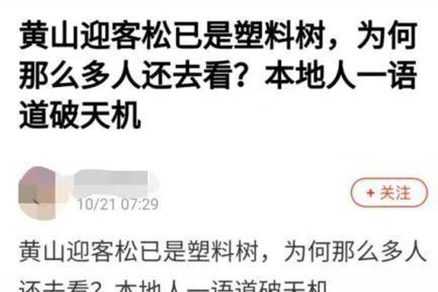"""黄山迎客松是""""塑料树""""""""假树""""?当地政府发布官方声明"""