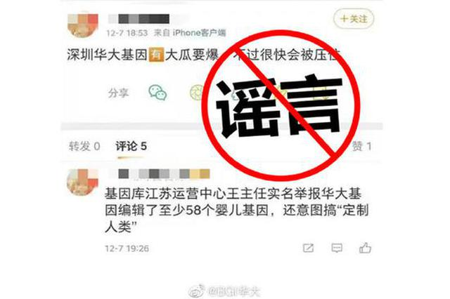 """华大基因辟谣基因编辑婴儿传闻 :""""基因库江苏运营中心""""不存在,已报案"""