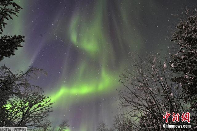 俄罗斯摩尔曼斯克天空现唯美北极光