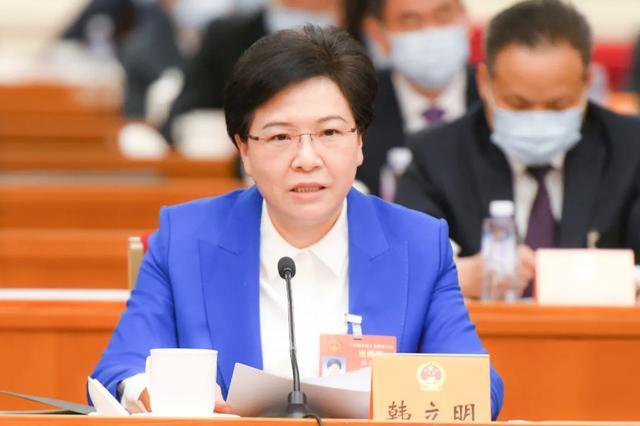 全国人大代表、南京市市长韩立明发言。 新华日报记者 肖勇 摄