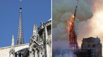 心疼!巴黎圣母院焚毁前后对比图