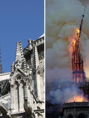 巴黎圣母院焚毁前后对比图