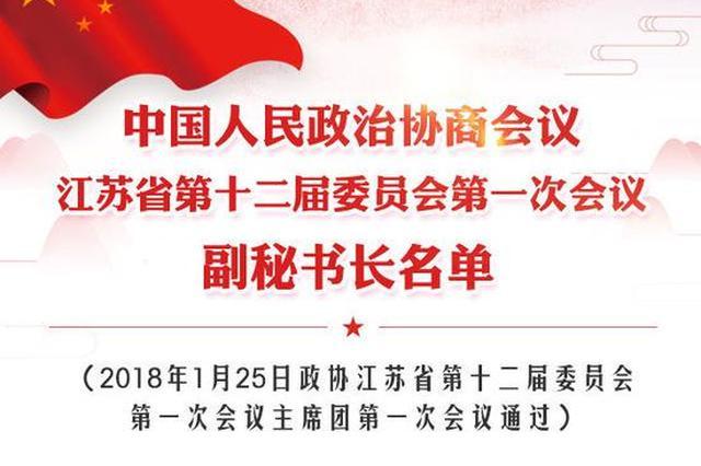 政协江苏省第十二届委员会第一次会议副秘书长名单
