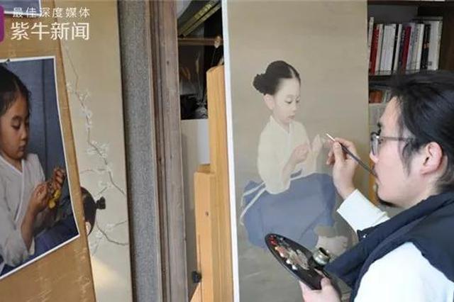 最文艺女儿奴:用油画把女儿画成中式小仙女