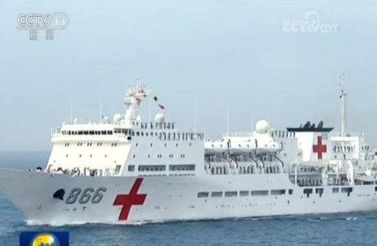 """""""和平方舟""""号医疗船,我国自主设计、建造的首艘大型专业医院船。"""