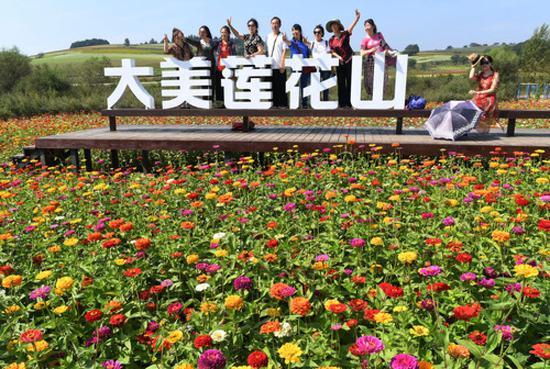 9月4日,游客在长春市莲花山生态旅游度假区花田里拍照合影。