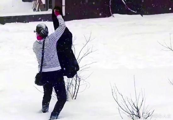 """东北阿姨用雪洗""""貂儿""""上热搜"""