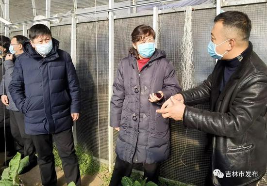 图为吉林省副省长李悦(中)在吉林市委书记、市长贺志亮(左)的陪同下,在吉康绿谷种植专业合作社调研。