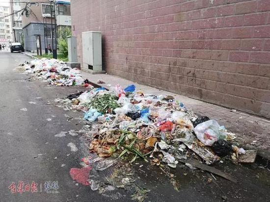 小区内堆放的垃圾,散发阵阵恶臭