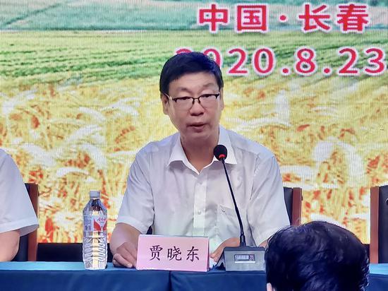 长春市人民政府副市长贾晓东,在第十九届中国长春国际农业·食品博览(交易)会闭幕新闻发布会上通报展会情况